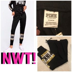 SALE💎NWT! PINK SEQUIN BLING SKINNY JOGGER💎